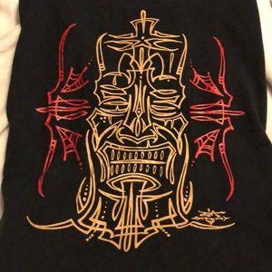 3xl black pinstripe style tiki T shirt